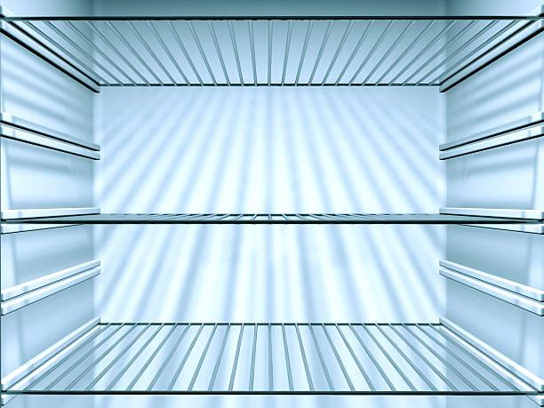 Opened Empty Fridge with empty shelves, close-up:スマホ壁紙(壁紙.com)