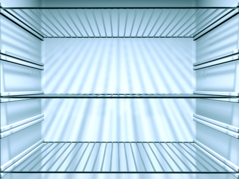 Indoors「Opened Empty Fridge with empty shelves, close-up」:スマホ壁紙(3)