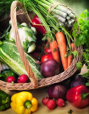 Asparagus「Fresh Garden Produce in a basket」:スマホ壁紙(1)