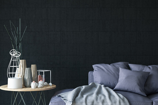 Pillow「Close Up Sofa with Decors and Black Wall」:スマホ壁紙(10)