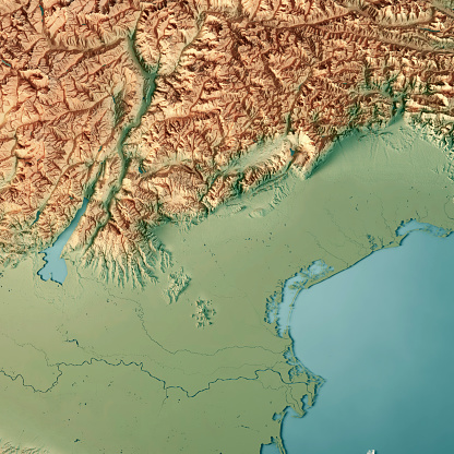 アドリア海「ヴェネト州イタリア 3 D のレンダリングの地形図」:スマホ壁紙(14)