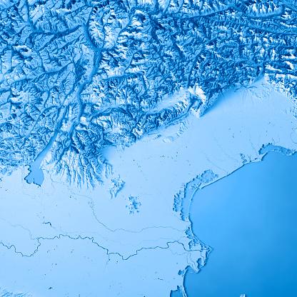 アドリア海「ヴェネト州イタリア 3 D レンダリング地形図青」:スマホ壁紙(15)