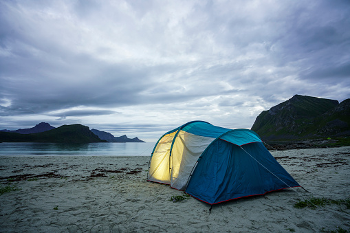 Tent「Norway, Lapland, Tent on a beach at fjord」:スマホ壁紙(1)