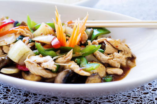 Jasmine Rice「Succulent Thai chicken dish with bell peppers basil and mushrooms」:スマホ壁紙(18)