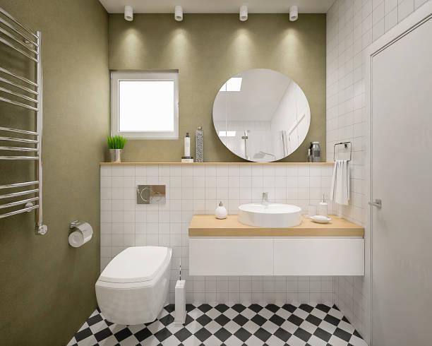 Modern 3d bathroom render:スマホ壁紙(壁紙.com)