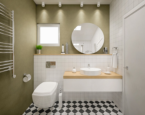 Plank - Timber「Modern 3d bathroom render」:スマホ壁紙(14)