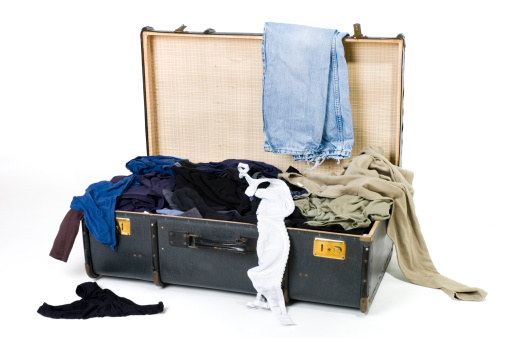 Clothing「Open suitcase with messy clothes on white background」:スマホ壁紙(4)