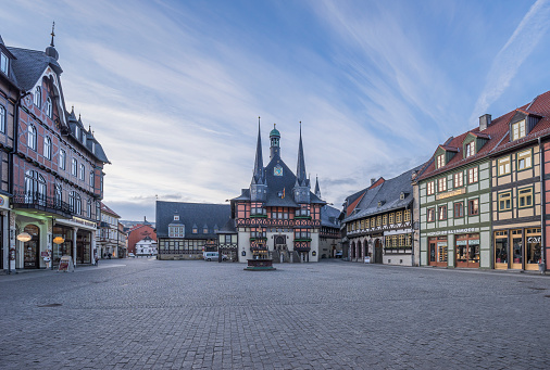 Saxony「Germany, Wernigerode, view to town hall and market square」:スマホ壁紙(9)