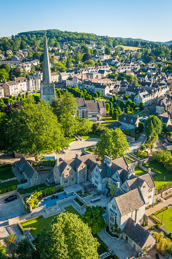 Cotswolds「Picturesque country village church spire Painswick Cotswolds summer aerial photograph」:スマホ壁紙(13)