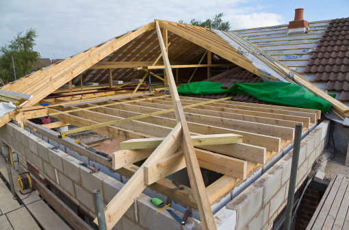 Rooftop「New roof being built for a house extension PR」:スマホ壁紙(18)