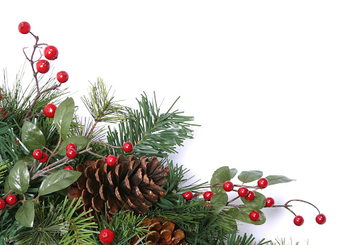 Christmas Decoration「Wreath Series (isolated on white with copyspace)」:スマホ壁紙(18)