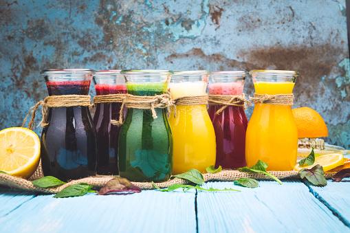 Juice - Drink「Various smoothies in a jar and ingredients」:スマホ壁紙(3)