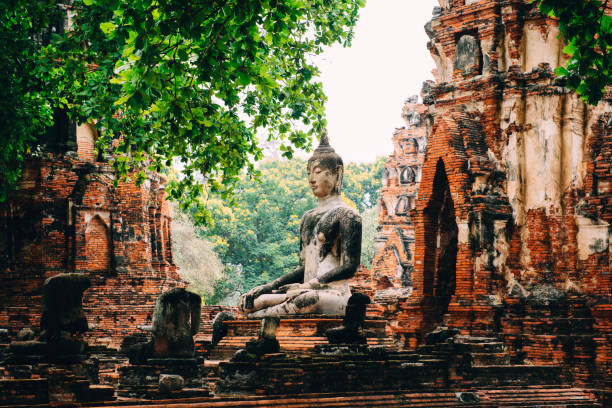 Thailand, Ayutthaya, Buddha statue surrounded by brick pagodes at Wat Mahathat:スマホ壁紙(壁紙.com)