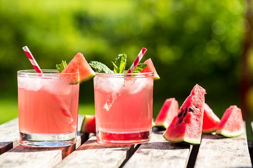 Mint Leaf - Culinary「Watermelon-Hugo, Mojito in glasses with drinking straw」:スマホ壁紙(8)
