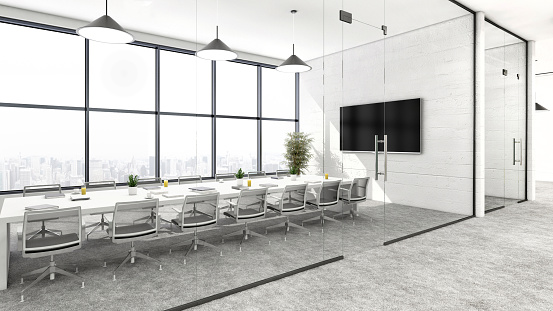 Template「Modern conference room office interior」:スマホ壁紙(13)