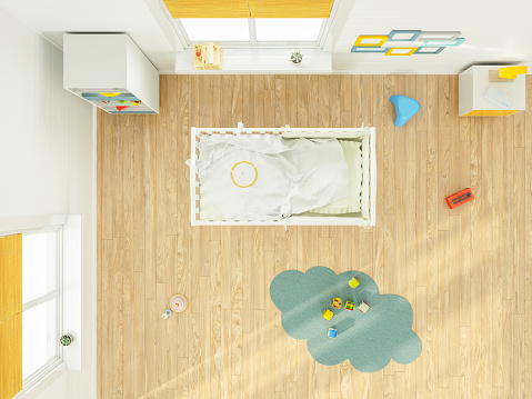 Bed - Furniture「Kid's Bedroom with furniture overhead top view」:スマホ壁紙(12)