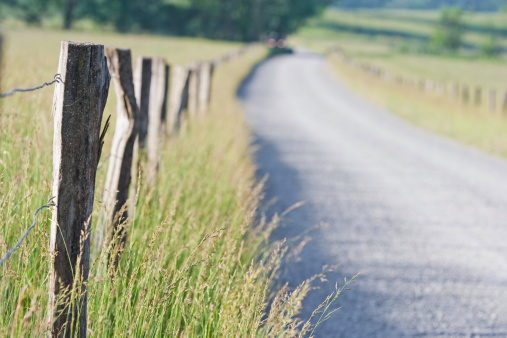 Cades Cove「Road and fence posts in the Smoky Mountains」:スマホ壁紙(19)