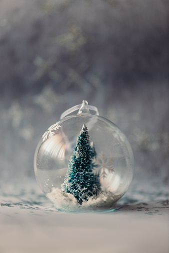Fake Snow「Christmas bauble made of glass with fir tree and artificial snow inside」:スマホ壁紙(4)