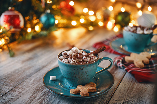 Gingerbread Cookie「Christmas Background with Hot Chocolate with Marshmallows」:スマホ壁紙(5)