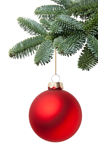 Red「Christmas ball hanging on a fir tree branch」:スマホ壁紙(2)