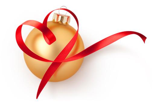 ハート「クリスマスボールリボンにレッドのハート型」:スマホ壁紙(4)
