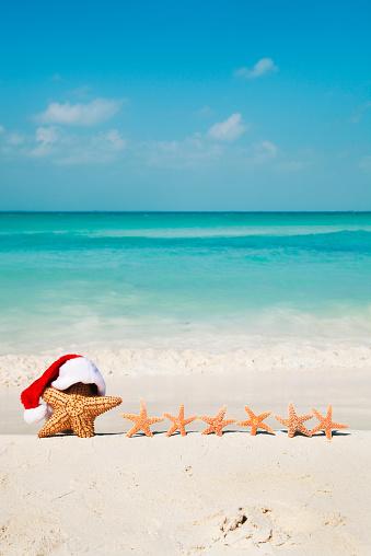 ビーチ「サンタクロースクリスマスのビーチ、ヒトデ熱帯のファミリーバケーション」:スマホ壁紙(18)