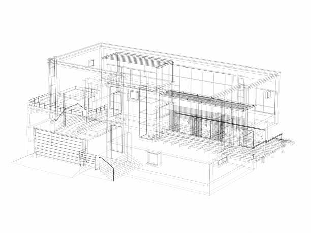 3D Sketch architecture abstract Villa:スマホ壁紙(壁紙.com)