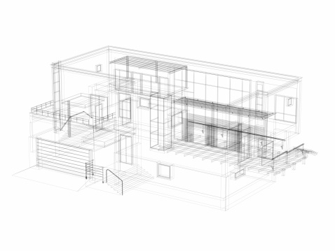 Monochrome「3D Sketch architecture abstract Villa」:スマホ壁紙(4)