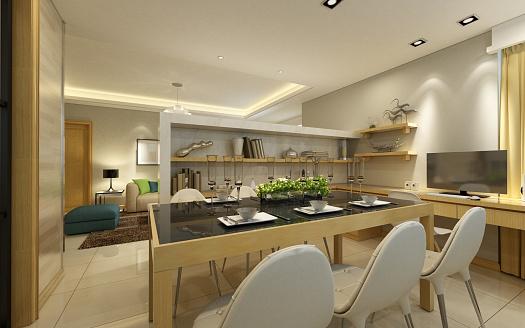 Villa「Modern Dining Room Interior」:スマホ壁紙(2)