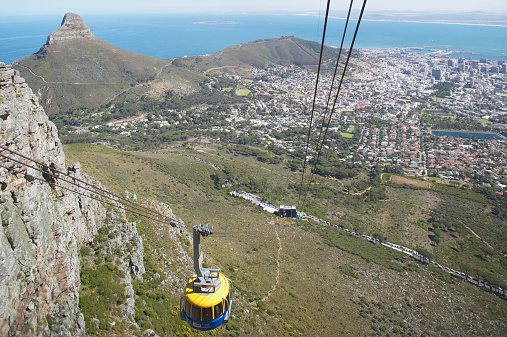 Overhead Cable Car「Cable car running up to Table Mountain」:スマホ壁紙(6)