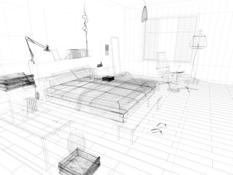 Sketch「abstract architecture Wire Frame Blueprint  Bedroom 1」:スマホ壁紙(8)
