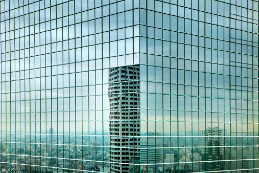 Asia「Cityscape reflected in glass windows, Shinjuku」:スマホ壁紙(10)