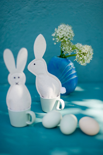 Easter Bunny「Eastern, decoration, Easter bunnies of felt, egg cosies, eggs, esspresso cups」:スマホ壁紙(7)