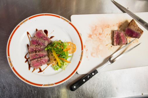 Salad「Steak dinner plate in the restaurant kitchen」:スマホ壁紙(8)