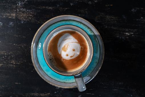 Cartoon「smile face pattern on latte」:スマホ壁紙(17)