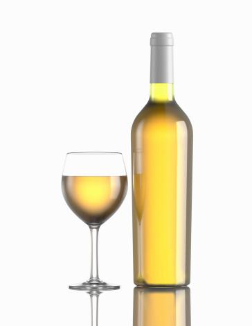 Wine Bottle「Glass of white wine and bottle」:スマホ壁紙(10)