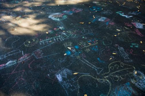 Chalk - Art Equipment「Chalk scribblings on pavement」:スマホ壁紙(0)