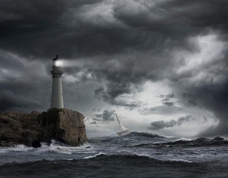 Guidance「Lighthouse shining over stormy ocean」:スマホ壁紙(6)