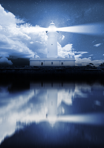 Beacon「Lighthouse and bad weather in background, reflection in water」:スマホ壁紙(14)