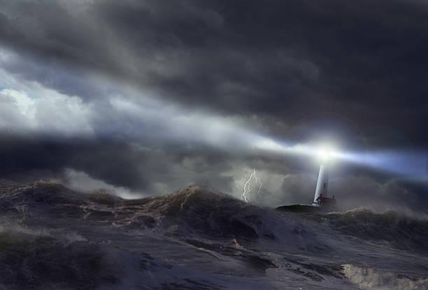 Lighthouse in storm (Digital Composite):スマホ壁紙(壁紙.com)