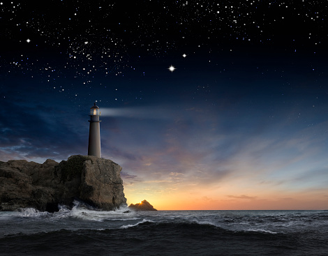 Beacon「Lighthouse beaming over rocky ocean waves under sunrise sky」:スマホ壁紙(7)