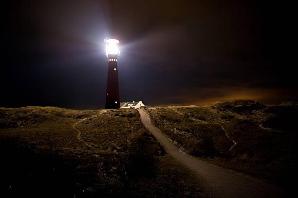 Lighthouse at night:スマホ壁紙(壁紙.com)