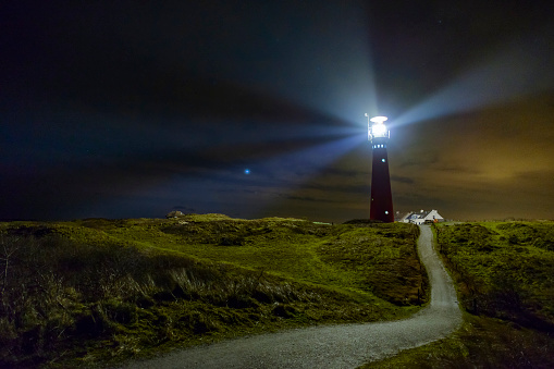 Beacon「Lighthouse in the night at Schiermonnikoog island in The Netherlands」:スマホ壁紙(4)