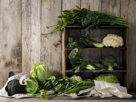 Cabbage「Green leafy vegetables on old rustic wooden shelves and an old weathered table against an old weathered wood plank wall background.」:スマホ壁紙(12)