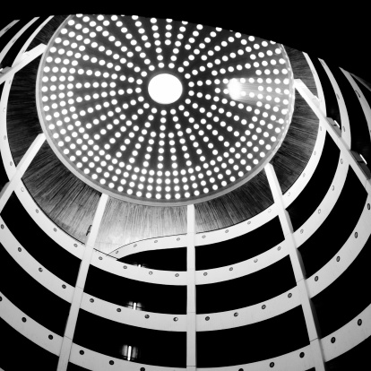 20th Century Style「Spiral Parking Garage with Dome at Top, Black and White」:スマホ壁紙(1)
