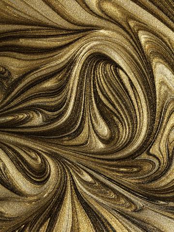 Sensory Perception「Glitter gold paint marbled swirl patterns」:スマホ壁紙(9)