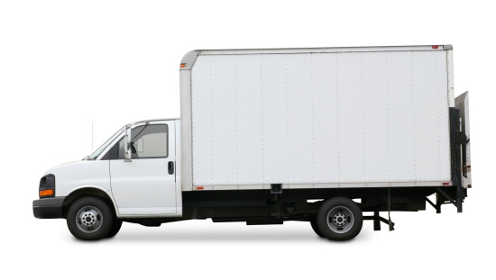Mode of Transport「White delivery truck isolated on a white background」:スマホ壁紙(9)