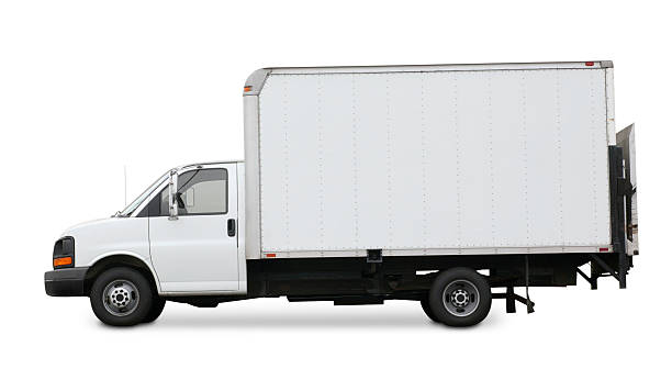 White delivery truck isolated on a white background:スマホ壁紙(壁紙.com)
