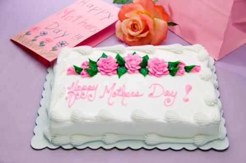 母の日「Sheet cake with words Happy Mother's Day!, card, gift and flower」:スマホ壁紙(15)