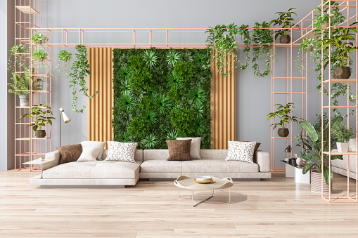Green Color「Green Living Room With Vertical Garden, House Plants, Beige Color Sofa And Parquet Floor」:スマホ壁紙(19)
